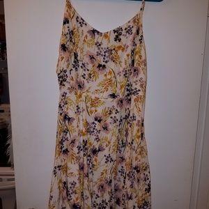 Floral A-line dress with adjustable straps.
